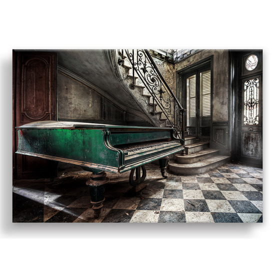 """Картина-репродукция с эффектом """"серебра"""" на холсте 85х113 см """"Пианино в серебре"""""""