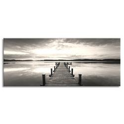 """Картина-репродукция с эффектом """"серебра"""" на холсте 60x150 см """"Пристань классическая"""""""