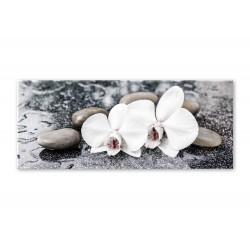 """Репродукция на стекле 50x125 см """"Орхидея в камнях"""""""