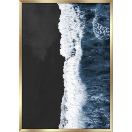 """Репродукция в рамке 50x70 см """"Черный пляж сверху"""""""