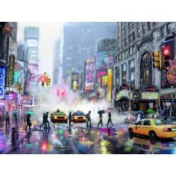 """Репродукция на холсте 85x113 см """"Улица Нью Йорка под дождем"""""""