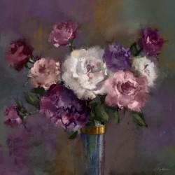 """Репродукция на холсте 65x65 см """"Фиолетовые цветы в вазе"""""""
