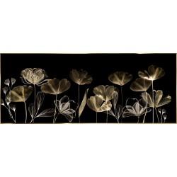 """Репродукция на стекле в рамке 50x125 см """"Цветы в черном"""""""
